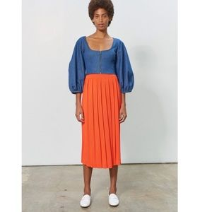 Mara Hoffman Antonia Pleated Midi Skirt Orange S